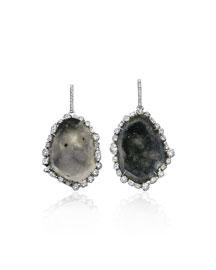 Diamond-Trimmed Geode Earrings