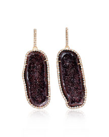 Pav� Diamond & Deep Red Geode Earrings