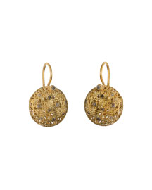 18K Gold Wire Lace & Champagne Diamond Earrings