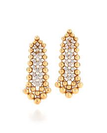 18k Gold Ball & Diamond Earrings