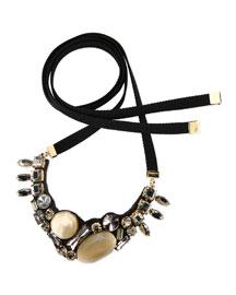 Jeweled Bib Tie Necklace, Beige