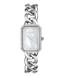 PREMI�RE Steel Chain Watch with Diamonds, Large Size