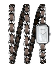 PREMI�RE Steel & Taupe Leather Wrap Watch