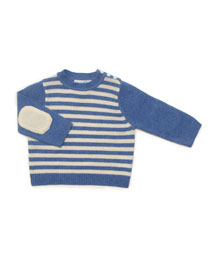 Striped Cashmere Sweater, French Blue/Cream, Baby