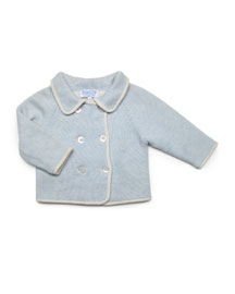 Reversible Cashmere Cardigan, Blue, Baby