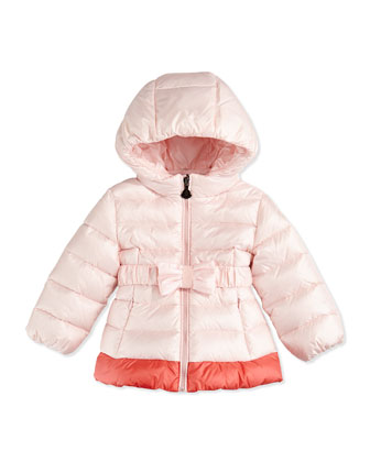 Bow-Belted Puffer Jacket, Pink, Sizes 3-24 Months