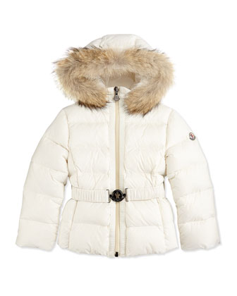 Fur-Trimmed Belted Puffer Jacket, Cream, Sizes 8-12