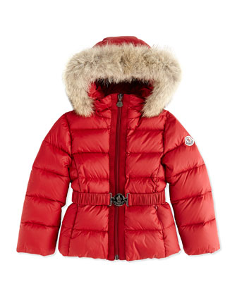Fur-Trimmed Belted Puffer Jacket, Red, Sizes 8-12