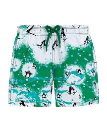 Penguin-Print Swim Trunks, Green, Boys' 4-12