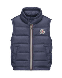 Amaury Down Puffer Vest, Royal Blue, Size 9-24M