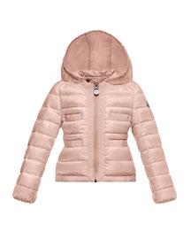 Alose Hooded Lightweight Down Puffer Coat, Pink, Size 2-6