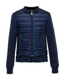 Maglia Combo Knit/Puffer Jacket, Navy, Sizes 2-6
