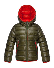 Mir Hooded Lightweight Down Puffer Jacket, Olive, Size 2-6