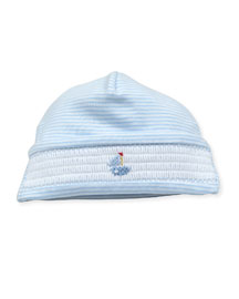 Smocked Sailboat Baby Hat, Blue