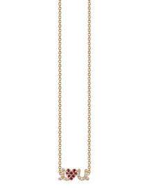 I Luv U Diamond & Ruby Pendant Necklace