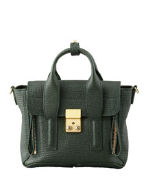 Mini Pashli Leather Satchel, Dark Green