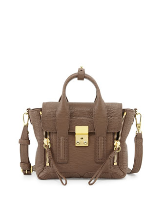 Pashli Mini Leather Satchel Bag, Taupe