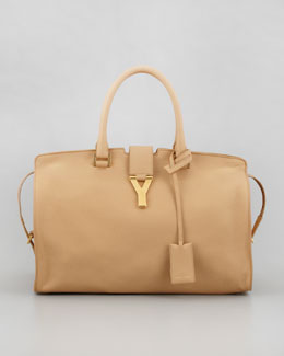 Saint Laurent New Cabas Chyc Medium Tote Bag, Beige