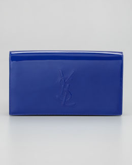 Saint Laurent Belle de Jour Patent Clutch Bag, Blue