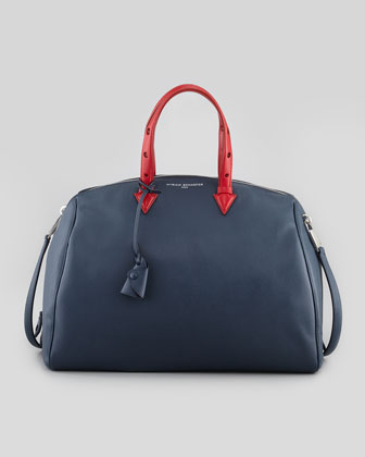 Joyce Bicolor Saffiano Satchel, Navy/Red