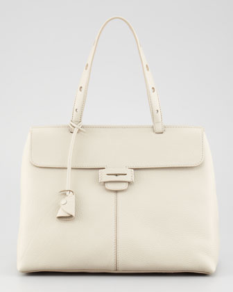 Lord Small Triangle Top-Handle Bag, Ivory