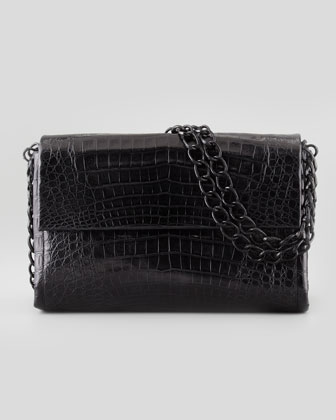 Soft Double-Chain Medium Shoulder Bag, Black