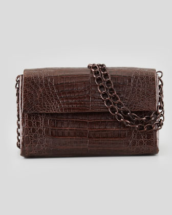 Soft Double-Chain Medium Shoulder Bag, Dark Brown