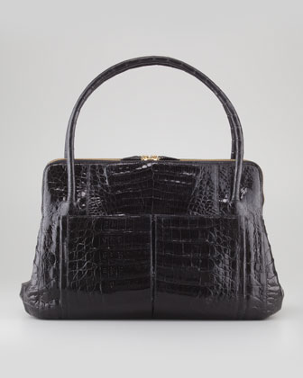 Linda Medium Crocodile Satchel Bag, Black Patent