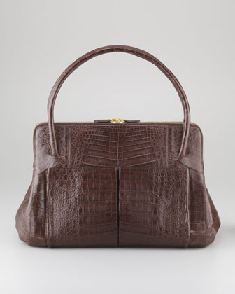 Linda Medium Crocodile Satchel Bag, Chocolate