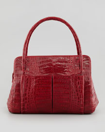 Linda Medium Crocodile Satchel Bag, Red