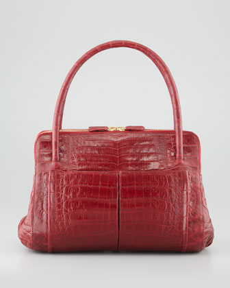 Linda Small Crocodile Satchel Bag, Red