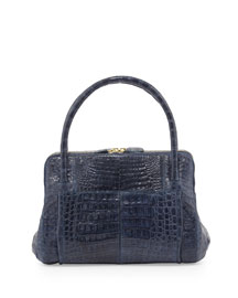 Linda Medium Crocodile Tote Bag, Blue