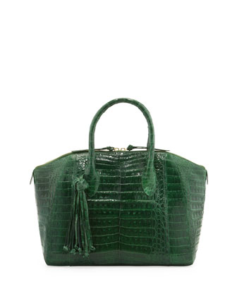 Medium Crocodile Tassel Dome Satchel Bag, Green