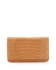 Crocodile Front-Flap Clutch Bag, Beige