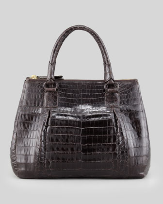 Small Executive Double-Zip Crocodile Tote Bag, Chocolate