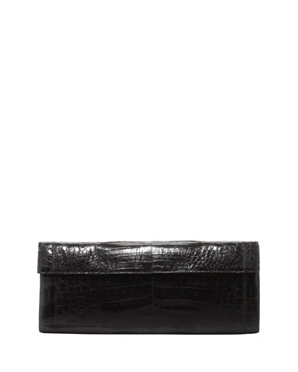 Crocodile Long Flap Clutch, Black