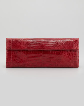 Shiny Crocodile Flap Clutch Bag, Red