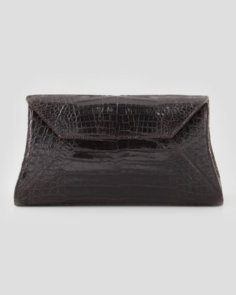 Crocodile Trapezoid Envelope Clutch Bag, Chocolate