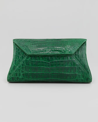 Crocodile Envelope Clutch Bag, Green