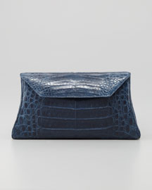 Crocodile Trapezoid Envelope Clutch Bag, Blue