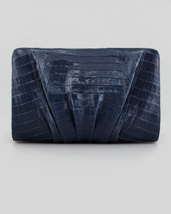 Medium Square Ruched Croc Clutch, Blue