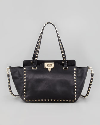 Rockstud Mini Crossbody Tote Bag, Black