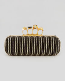 Studded Knuckle-Duster Clutch, Black