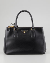 Saffiano Small Executive Tote Bag with Strap, Black