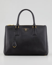 Saffiano Small Double-Zip Executive Tote Bag, Black