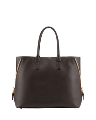 Jennifer Trap Leather Tote Bag, Brown