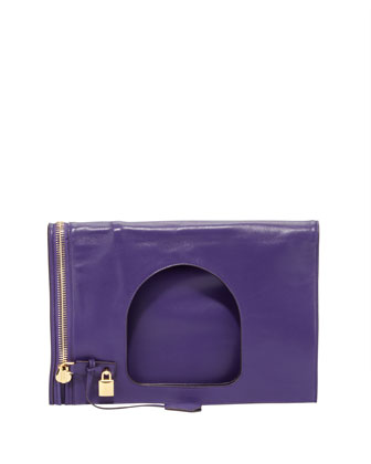 Alix Large Leather Fold-Over Bag, Purple