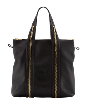 Amber Pebbled Leather Medium Tote Bag, Black