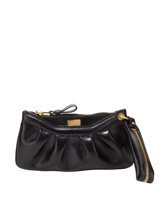 Ava Pleated Leather Wristlet Bag, Black