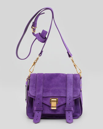 PS1 Suede Shoulder Pouch Bag, Eggplant